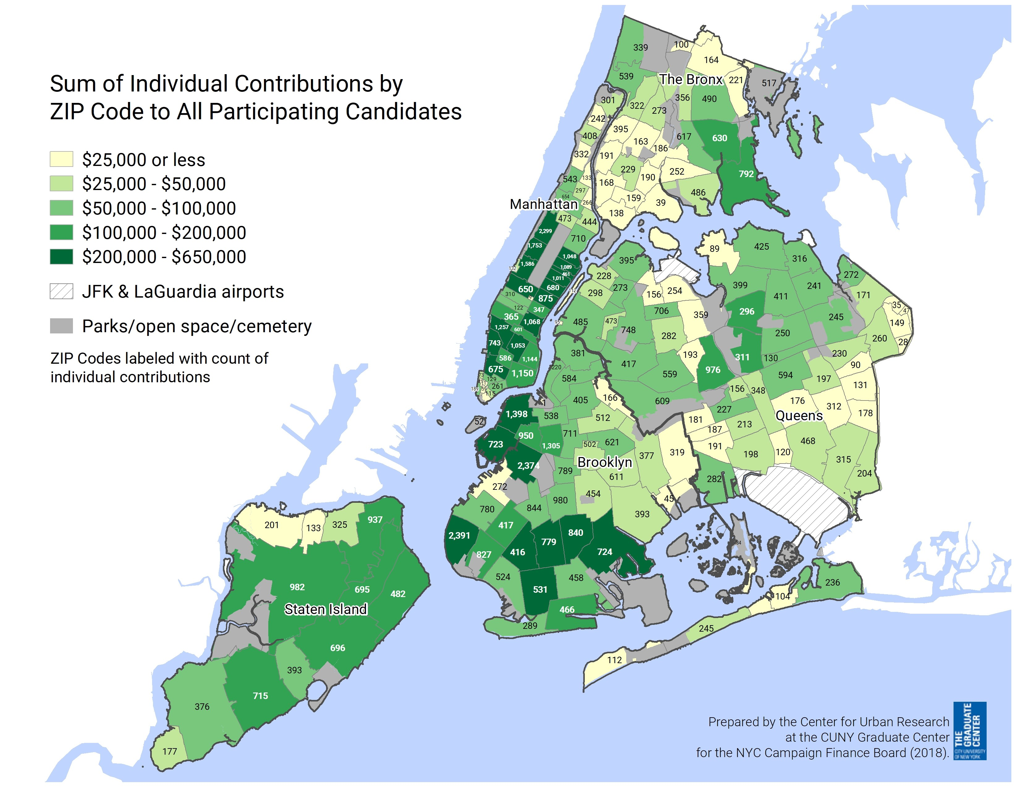 Map of New York showing the sum of all indicual contributions by ZIP Code to participating candidates